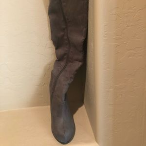 Brand new Halpern gray suede over the knee boots